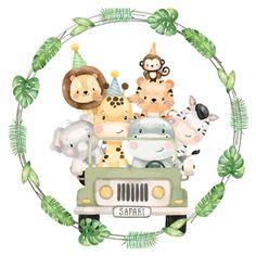Safari Theme Birthday, Baby Boy 1st Birthday Party, Animal Birthday, Jungle Party, Safari Party, Safari Png, Festa Safari Baby, Safari Animals, Baby Animals