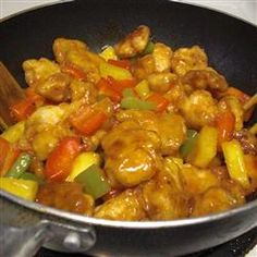 Pineapple and vinegar are the sweet and sour in this Asian-style chicken and green pepper stir fry.