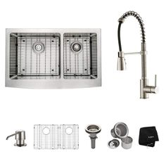 "Kraus KHF203-33-KPF1612-KSD30 Kitchen Combo - 32-7/8"" Farmhouse 60/40 Double Bow Stainless Steel /"