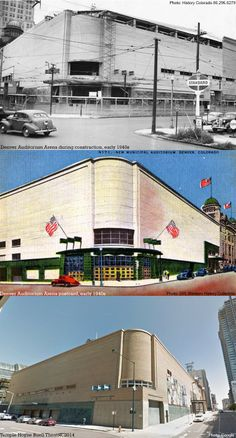Built in the 1940s as an annex on the south side of the 1908 City Auditorium, the Denver Auditorium Arena (now the Buell Theatre) as viewed from the intersection of 14th and Champa Streets has changed over the years, but it was always used for performing or spectating, from housing the Denver Rockets (precursor to the Nuggets) to hosting Led Zeppelin's American debut in 1968. Colorado Homes, Denver Colorado, Colorado Springs, Louisiana Purchase, County Seat, Denver Nuggets, Mountain High, Personal History, School Memories