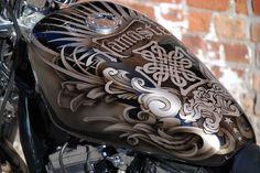 Custom Airbrushed Bike Done by Underground Art Studios in Cedar Rapids Iowa Custom Motorcycle Paint Jobs, Custom Paint Jobs, Tank Design, Bike Design, Crane, Motos Harley Davidson, Custom Tanks, Helmet Paint, Motorcycle Tank