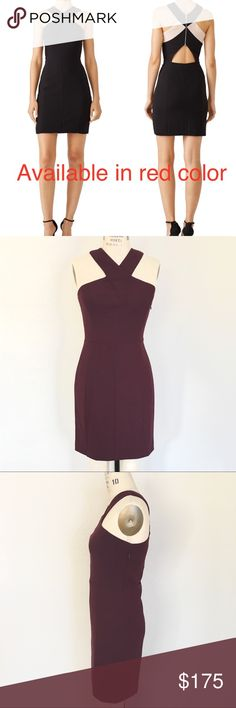 """Elizabeth and James dark plum red cutout dress- 8 Original price $395 plus tax. Elizabeth and James """"Elliot"""" mini dress in stretch crepe. Simple but super chic dark red plum (shiraz) color halter dress from Elizabeth and James. It is perfect for date nights/clubbing or other night out occasions. Features asymmetric contrast panels at back. Overlap Grecian neckline. Sleeveless; cut-in shoulders. Princess seams on bodice. Cutout triangle back. Sheath silhouette. Paneled skirt. Back zip…"""