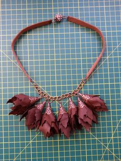 Brown leather buds for this necklace