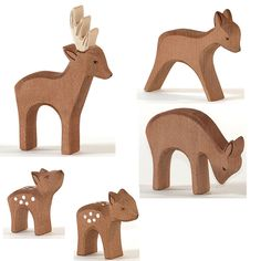 °°° The Ostheimer deer family. Carved Wooden Animals, Wooden Animal Toys, Wood Animal, Wood Toys, Wood Carving Patterns, Carving Designs, Whittling Wood, Animal Templates, Scroll Saw Patterns