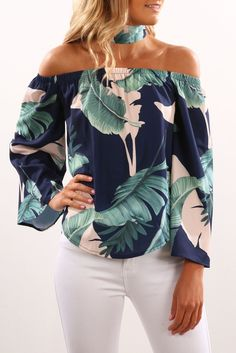 Wholesale Navy Leaves Print Off Shoulder Blouse with Choker – kaliyy Curvy Fashion, Modest Fashion, Trendy Fashion, Plus Size Fashion, Fashion Outfits, Stylish Outfits, Cute Outfits, Pants For Women, Clothes For Women