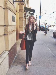 zippedblog ... nude shoes, striped t, blazer