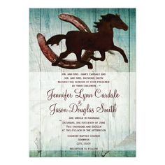 159 Best Rustic Horse Shoe Wedding Invitations Images In 2019