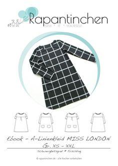 A-Linien-Kleid MISS LONDON mit Nähanleitung und Schnitt - Nähanleitungen bei Makerist