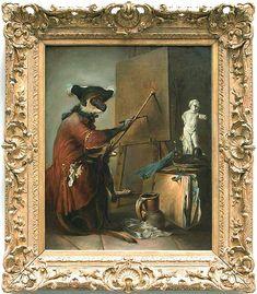 Jean-Siméon CHARDIN - Le singe peintre - 1739/1740 - Louvre (// avec les singeries d'Huet, Watteau, Lancret, qui s'inspirent du flamand TENIERS)