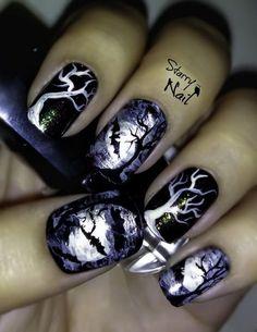 Scary Midnight Halloween Nail Designs. Halloween Nail Art Ideas.