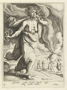 Zacharias Dolendo | Afgunst (Inividia), Zacharias Dolendo, Jacob de Gheyn (II), Hugo de Groot, c. 1596 - c. 1597 | Afgunst, een magere vrouw met ontblote borsten, lopend naar rechts. Ze heeft slangen als haar en heeft een slang in de rechterhand. Ze bijt op een hart. Op de achtergrond een oven waaruit een dikke rookwolk komt. Twistende mannen en vrouwen staan voor de oven. Nr. 4 uit serie van deugden en ondeugden die de lotgevallen van het leven bepalen.