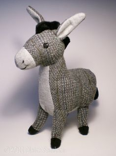 Grey Tweed Donkey Soft Toy by FluffEngine on Etsy