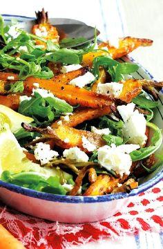 Low FODMAP Recipe and Gluten Free Recipe - Spiced roast carrot & feta salad http://www.ibs-health.com/low_fodmap_spiced_roast_carrot_feta_salad.html