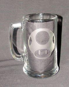 $13 Mario Mushroom Symbol Hand Etched Beer Mug, Pint Glass, Coffee Mug