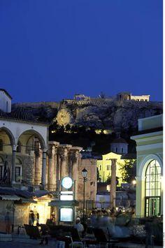 Plaka and Acropolis. Athens, GREECE.