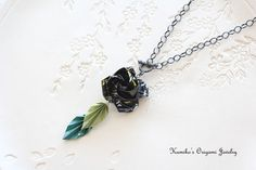 Origami Jewelry  Japanese Origami Rose Necklace by KumikosOrigami
