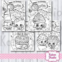 pdf with 4 personalized shopkins birthday coloring activity sheets pages game favor you print at your own expense