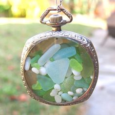 Green, Aqua Blue and White Sea Glass Necklace in a Gorgeous 14K White Gold Filled Antique Pocket Watch Case - Spirit of the Sea