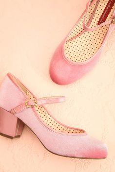Latsia - Light pink velvet Mary Jane medium heels