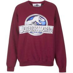 Jurassic World Sweatshirt by Tee and Cake ($60) ❤ liked on Polyvore featuring tops, hoodies, sweatshirts, sweaters, red, sweat tops, print sweatshirt, sweatshirts hoodies and purple top