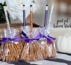 Candy pretzel broom sticks are made to look like a witch's broom.