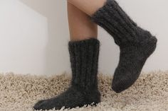 Grey hand knitted mohair socks Fuzzy handcrafted gray leg warmers by SUPERTANYA #SuperTanya #Casual