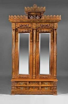 American Aesthetic Carved And Burled Walnut Bedroom Set  c. 1880