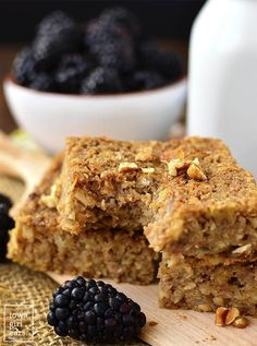 Maple-Cinnamon Oatmeal Breakfast Bars are naturally sweetened and gluten-free. Enjoy as a healthy snack or easy, on-the-go breakfast!   iowagirleats.com