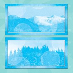 WINTER LANDSCAPES Digital Collage Sheet 4x2in by rowantreedesign