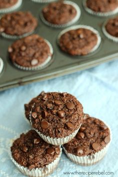 Double Chocolate Banana Bran muffins -- so chocolatey you won't even notice the healthy stuff! My new FAVORITE muffin. www.thereciperebel.com