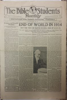 Bible Students Monthly 1914 Famous Not End of World Jehovah Watchtower IBSA