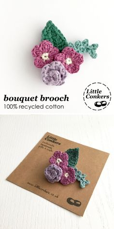 Floral bouquet brooch in shades of purple. Hand-crocheted in 100% recycled cotton. Makes a lovely gift.