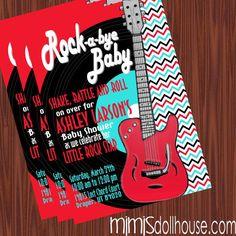 Rock and Roll Invitation- Rocker Baby Shower Invitation PDF/JPEG. $11.99, via Etsy.