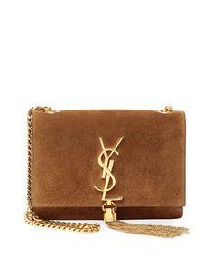 Monogram Small Tassel Crossbody Bag, Beige