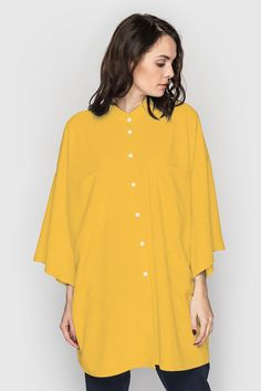 Yellow oversize kimono shirt 33$. The oversize style — choice of creative and not ordinary people, and if you belong to them, it's time to complete your wardrobe by interesting kimono #shirt. This model will perfectly place in your wardrobe, however, let you be noticeable within your workmates thanks to the free cut and bright yellow colour. #VOVK