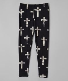 Love this White & Black Cross Leggings Leggings - Girls by American Kids on #zulily! #zulilyfinds