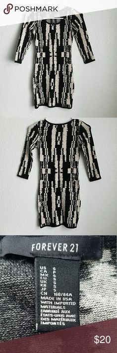 Sweater Dress Bodycon * Perfect condition * Color: Black/Beige * 2 uses only * 83%rayon,  15%polyester, 2%spandex/elastane Forever 21 Dresses Mini