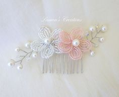 Beaded Flower Hair Comb wedding hair piece by LaurenHCreations, $20.00