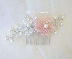 Beaded Flower Hair Comb wedding hair piece by LaurenHCreations, $20.00