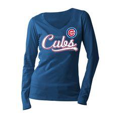 Chicago Cubs Women's Royal Long Sleeve V-Neck T-Shirt  #ChicagoCubs #Cubs #FlyTheW #MLB #ThatsCub