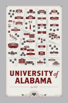 UNIVERSITY OF ALABAMA MAP celebrate the SEC!
