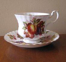 Vintage Royal Albert Bone China Teacup & Saucer Set - Orchard Fruit at whimsicalvintage.rubylane.com