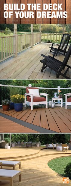 Choose your style, design and materials to create your perfect outdoor escape. Click to explore options from Ground Contact treated wood decking that's durable to composite decking that delivers rich colors and natural graining.