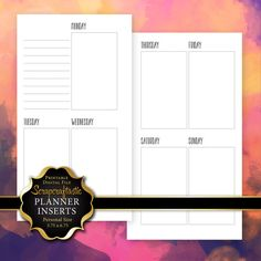 Peesonal Size Planner Printable Insert Refill Undated WO2P