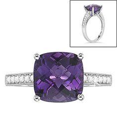 Amethyst & Diamond Ring  14kt White Gold