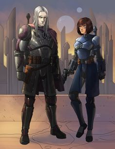 Star Wars-based OC art commissioned by Opie. Koji and Selvaria (Commission) Star Wars Characters Pictures, Star Wars Images, Star Wars Droids, Star Wars Rpg, Silk Marvel, Mandalorian Cosplay, Star Wars Painting, Drawing Stars, Star Wars Design
