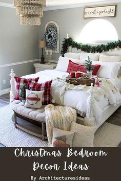 Winter Bedroom Decor, Christmas Bedroom, Farmhouse Christmas Decor, Cozy Christmas, Farmhouse Decor, White Christmas, Modern Farmhouse, Farmhouse Style, Christmas Decorations For Bedroom