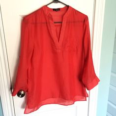 Sheer coral Mandarin collar blouse Sheer coral, Mandarin collar blouse. Three-quarter length sleeve and roll tabs The Limited Tops Blouses