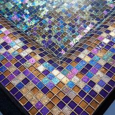 A custom blend of Lightstreams Gold Iridescent Bronze glass tile and Renaissance Collection Purple glass tiles create a beautiful swimming pool waterline and all-tile spa. Swimming Pool Photos, Swimming Pools, Gold Glass, Purple Glass, Mosaic Glass, Mosaic Tiles, Backsplash Tile, Pool Tiles, Glass Tiles
