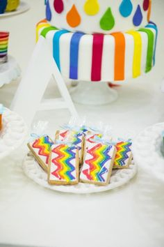 Cookies at rainbow themed party #rainbow #party #cookies